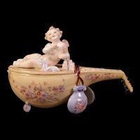 19c Antique German Dresden Cherub Figure Mandolin Instrument Jewelry Trinket Box