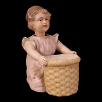 19c German Porcelain Girl Figurine Statue Nodder Spill Vase Piano Baby Matchsafe