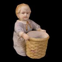 19c German Porcelain Boy Figurine Statue Nodder Spill Vase Piano Baby Toothpick