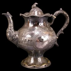 1800's Victorian Aesthetic Decorated Silver Plate Repousse Relief Chase Teapot Kettle~