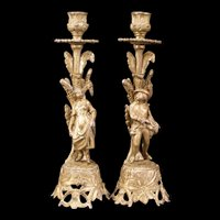 1800's Victorian Candle Holder Stick Figural French Gilt Bronze Girl Boy Statue