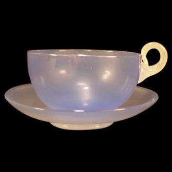 1920's Rare Steuben Opalescent Alabaster Art Blown Glass Wisteria Tea Cup Saucer