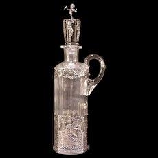 Antique Sterling Silver Cut Etch RARE SCENE Hanau Crystal Cherub Decanter Bottle