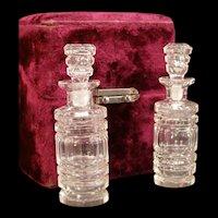 19 c Victorian Cut Baccarat Flint Glass Perfume Scent Bottles Presentation Case