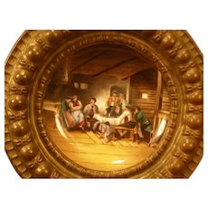 1800's Bronze Hand Painted Royal Vienna Porcelain Portrait Plaque Interior Scene