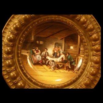 1800's Bronze Hand Painted Royal Vienna Porcelain Portrait Plaque Interior Scene
