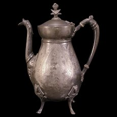 19 c Aesthetic Egyptian Revival Silverplate Figural Chased Coffee Kettle Tea Pot