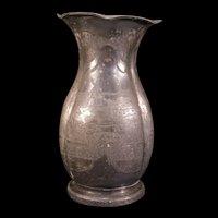 19c Victorian Silver Plate Scenic Portrait Mantle Flower Melon Rib Pot Vase