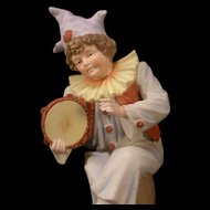 LG 1800s Vion & Baury Bisque Porcelain Jester Clown Figure Statue Sculpture 19 c