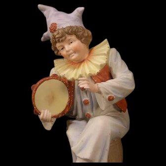 LG 1800s Vion & Baury Bisque Porcelain Jester Clown Figure Statue Sculpture 19 c