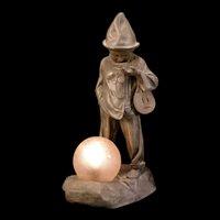 1920's-30's Art Deco French Figural Jester Clown Pierrot Minstrel Statue Sculpture Lamp