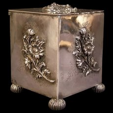 19c Victorian Embossed Repousse Silver Chamomile Tea Caddy Spice Jar Box Humidor