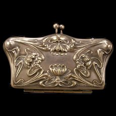 Antique Art Nouveau Water Lily Silver Finish Coin Purse Bag High Relief