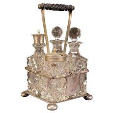 1800's Victorian Cut Glass Oil Vinegar Condiment Bottle Cruet Castor Stand Set Silver Plate