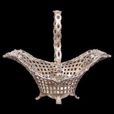 Antique Silver Centerpiece Bride Flower Basket Calling Card Holder Fruit Bowl