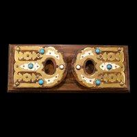 19c Jeweled Adjustable Expandable Burl Wood Brass Bookends Folding Book Holder