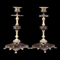 19c Victorian Gothic Slate Candle Stick Holder Garniture Set Claw Foot Aesthetic