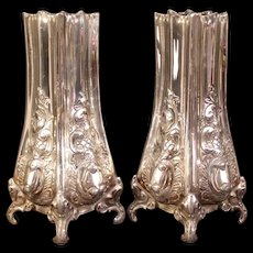 Antique Pair Matching Repousse Chase Silver Embossed Relief Flower Bud Spill Vases
