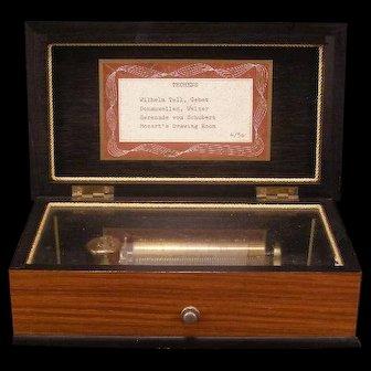 Antique Thorens 4 Tune Swiss Flower Wood Inlay Music Box 52 Note Mozart-Schubert
