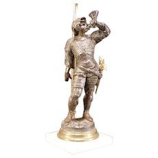 Antique Soldier Figure Axe Warrior Bronze Statue Sculpture Marble AJUSTABLE Lamp