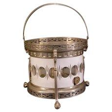 1800's Teapot Warmer Tea Cozy Oil Lamp Burner Cut Glass Dragon Figural Stand Pot