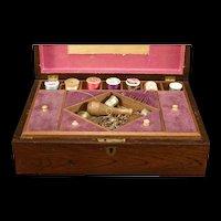 19c Victorian Rosewood Inlaid Key Thread Needle Case Trinket Jewelry Sewing Box~