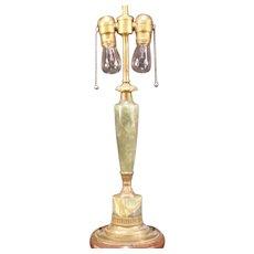 Vintage LG Art Deco Onyx & Bronze Agate Adjustable Shade Jade Green Fixture Lamp