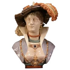 STUNNING Jeweled 19 c Majolica Pottery Girl Bust Woman Statue Sculpture WOW Lady