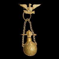 19th c Chatelaine Eagle Miniature Perfume Scent Bottle Vinaigrette Smelling Salt