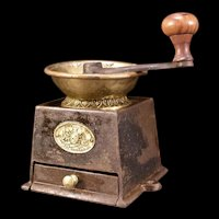 Antique Cast Iron & Brass Kendricks Table Top Counter Coffee Mill Grinder 1800's