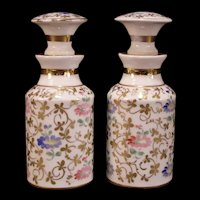 19 c French Porcelain Old Paris Hand PAINTED Cologne Perfume Bottle Apothecary