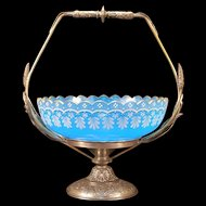 1800's Victorian Silver French Enamel Blue Opaline Glass Bride Basket Centerpiece