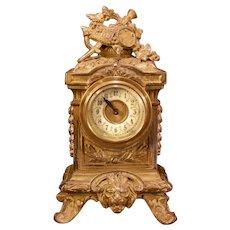 Antique French Bronze Gilt Music Instrument Figural Lion Case Shelf Mantle Clock