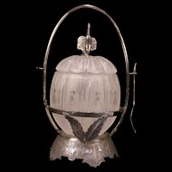 Rare 1800's Victorian Bell Flower Cut Crystal Scenic Figural Silver Pickle Castor
