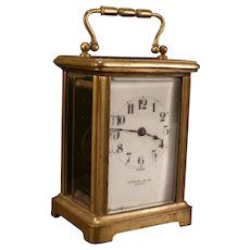 Antique French Stowell Bronze Carriage Clock w/ ORIGINAL Display Case Porcelain
