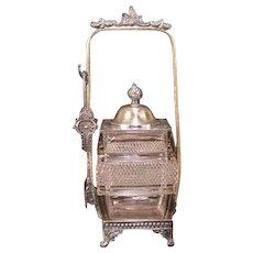 1800's Victorian Repousse Silver Cut Glass Square Pickle Castor Condiment Jar 19c