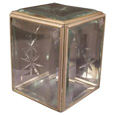 Antique Frame Thick Beveled Trinket Casket Piggy Cut Glass Coin Bank Box Vanity
