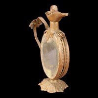Antique French Bronze Ormolu Ewer Perfume Scent Bottle Vanity Mirror Miniature