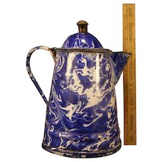 19c Victorian Antique Cobalt Blue Swirl Coffee Pot Graniteware Teapot Enamelware