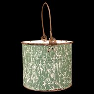 1800's Enamelware Graniteware Green Swirl Berry Cream/ Lunch Pail Bucket Bail Handle