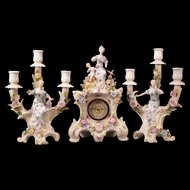 3 Piece 19 c Schierholz German Porcelain Cherub Figure Candelabra Mantle Clock Set