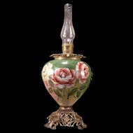 HUGE 19 c Victorian Art Nouveau Hand Painted Roses Banquet Parlor Oil Lamp Brass