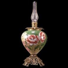 HUGE 19 c Victorian Art Nouveau Hand Painted Roses Banquet Parlor Oil Lamp Brass