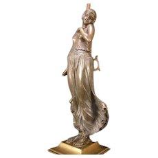 1920's Deco Flapper Girl Dancer SOLID BRONZE Figure Newel Post Fixture Statue Lamp