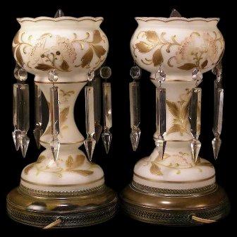PAIR Vintage Bohemian Hand Painted Gold Gilt Enamel Prism Mantle Luster Lamp