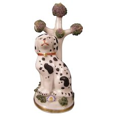 1800's Staffordshire Dalmatian Dog Figure Tree Sculpture Pearlware Bocage Fairing