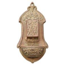 1900's Art Nouveau Cast Iron Hanging Wall Match Box Safe Holder Tree Leaf & Vine