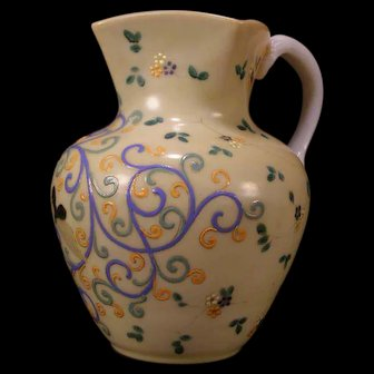 19 c Cased Cranberry HAND PAINTED Enamel BUTTERFLY Opaline Custard Glass Pitcher