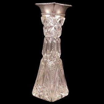 Antique Gorham Deep Cut Glass Crystal Flower Bud Vase Beaded Sterling Silver