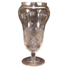 LG 1920 Charles Fox Pinched Sterling Silver Cut Glass Crystal Sweetmeat Jar Vase